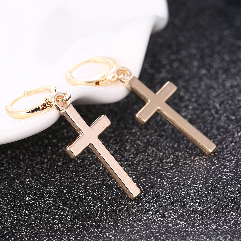 1Pair Fashion Women Men Cross Pendant Cricle Earring Tragus Cartilage Earrings Punk Gift Jewelry Gold Hot Cool Engagement Party(China)