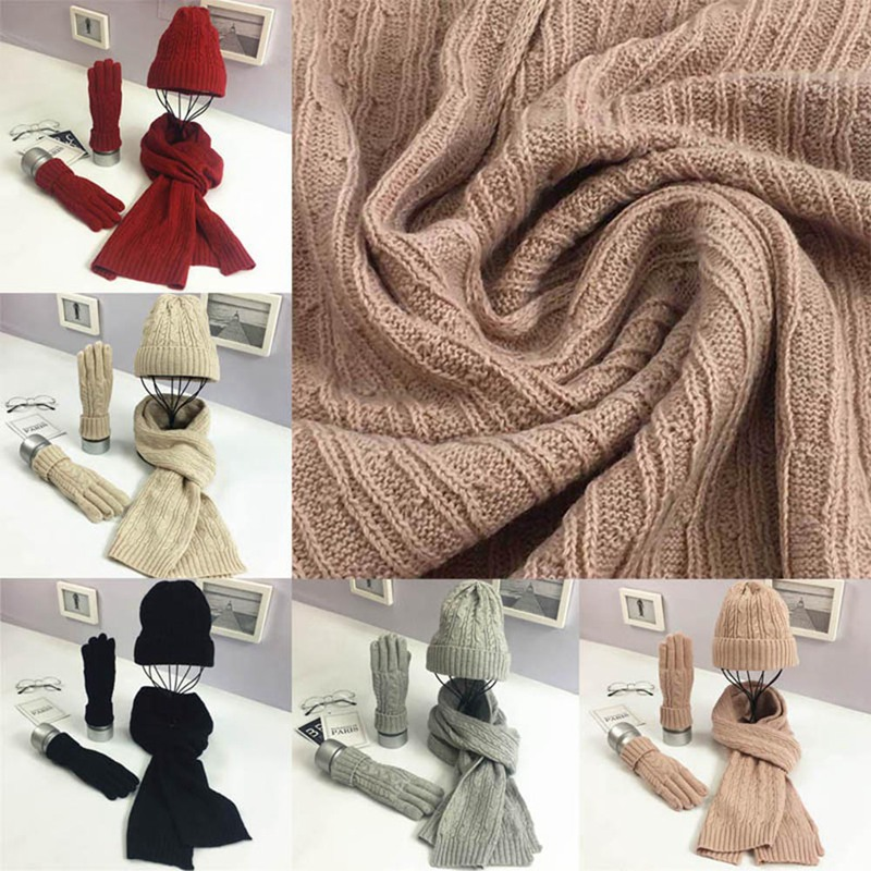 Women's Scarf Hat Gloves Set Three-piece Brand Designer Winter Warm Set Women Hat Scarf Men Unisex