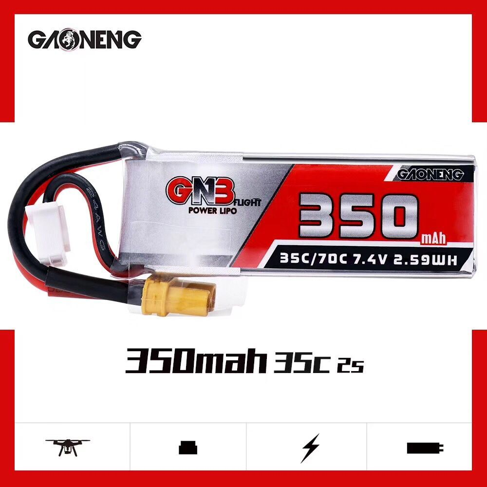 1/2/4 PSC Gaoneng GNB 7.4V <font><b>350mAh</b></font> 35C <font><b>2S</b></font> Lipo Battery XT30 Plug for for Beta75X RC Drone FPV Racing Parts Accessories image