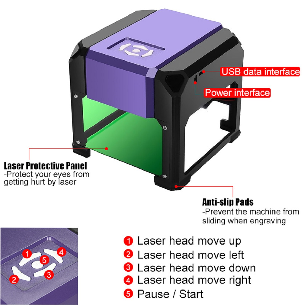 3000mW Laser Engraver DIY Logos Mark Printer Cutter Laser Engraving Carving Machine Support Bluetooth For Ios /Android/Laptop/PC