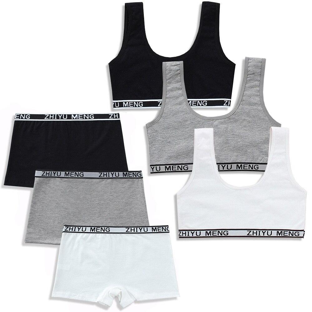 Teens Bra Set Girls Underwear Camisole Cotton Hipster 8-12Y Kids Adjustable Sling Big Girl's Training Summer Sport