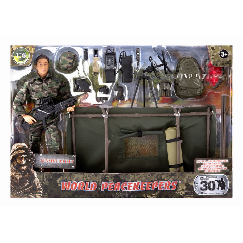 1/6 World Peacekeepers Action Figure With Accessories Soldier Military Model Gunner Playset  Delta Force