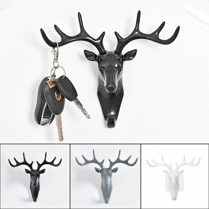 Room Decoration Deer Horn Wall Mounted Hanging Hook Self Adhesive DIY Hanger Rack Bag Key Holder