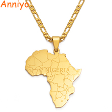 Anniyo Africa Map With NIGERIA Pendant Necklaces Gold Color