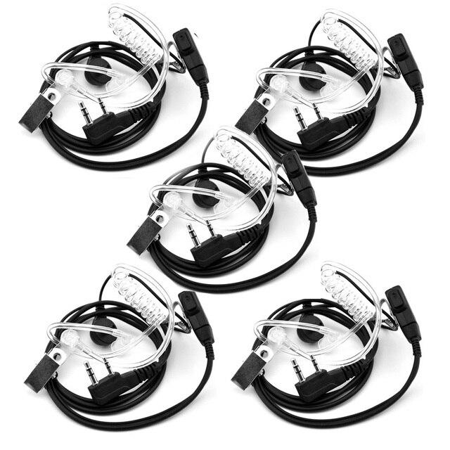 5 PCS Air Akoestische Buis Headset voor Walkie Talkie Baofeng Radio K Poort Oortelefoon PTT met Microfoon voor UV 5R 888 s Guard Oordopjes