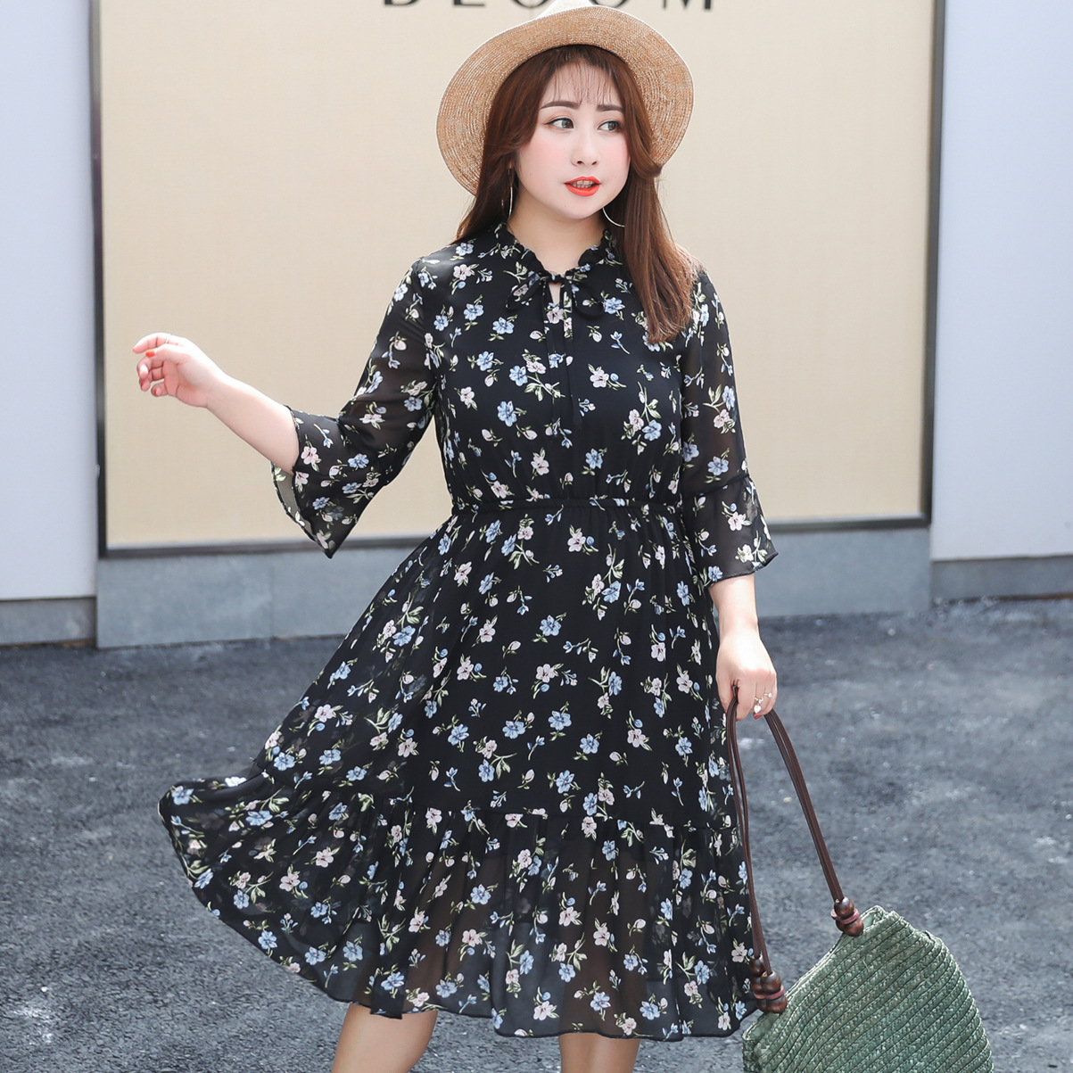 2019 Summer Wear New Style Extra Large WOMEN'S Dress Large GIRL'S Plus-sized Floral-Print Chiffon Full Body Dress A058