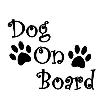 Funny Dog On Board Paw Print Cool Car Decal Decor Window Helmet Laptop Sticker image