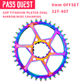 Pass quest mtb gxp titanium-plated oval mtb estreita ampla chainring 32 t-40 t bicicleta roda de manivela 0mm offset