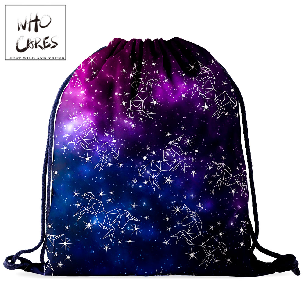 Who Cares Unicorn Bag Starry Sky Drawstring Bag Women Backpack Gym Fashion 3D Printing Portable Waterproof Sport Travel Bag