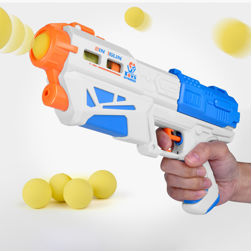 Dual-purpose Squirt Gun Children Summer Beach Toys Water Gun Harmless Toy Bowling Pistol Fake Gun With Five EVA Foam Ball