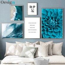 Estilo flor azul nórdico cartazes e cópias dolmabahce sarayi mar arte da parede decorativo imagem para sala de estar paisagem pa