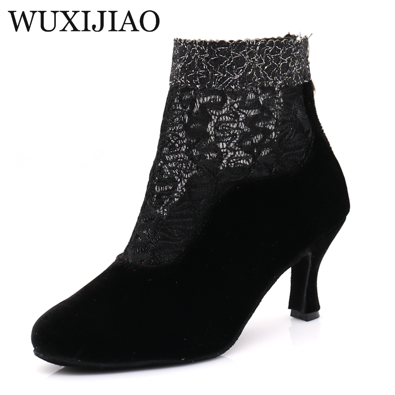 WUXIJIAO Women's Ballroom Latin Dance Shoes Black Suede Net Flash Salsa Tango Bachata Dance Shoes Satin Heel 7.5cm
