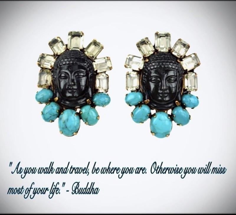 Европа и США ветер ins латунь натуральный с драгоценным камнем, бирюза Будда уха клип ретро благоприятный богатый Серьги женщин