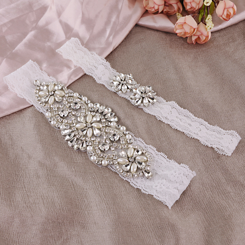 TRiXY THS76 TH20 Crystal Wedding Garter Rhinestone Lace Leg Ring Sexy Garter Thigh Ring Bridal Leg Garter For Women/Female/Bride