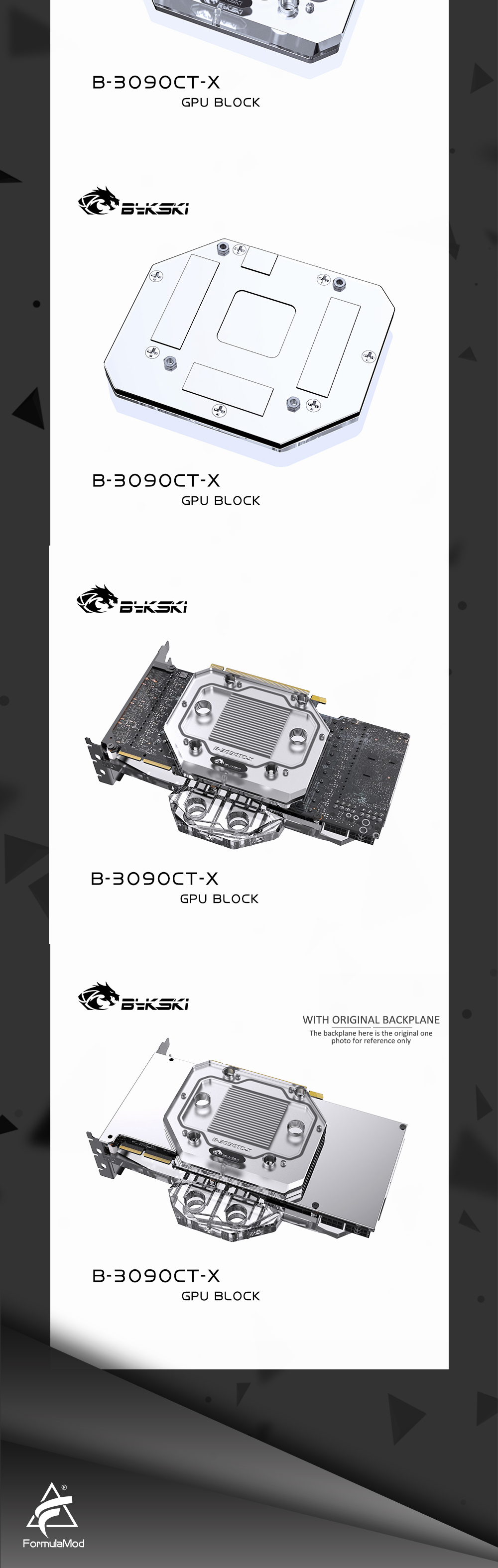 Bykski RTX 3090 GPU Backplane Water block Cooler for All 3090 series Graphic card , Mining Water Cooling backplate block