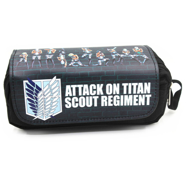 Anime Japanese Cartoon  Attack on Titan Tokyo Ghoul Kids Pencil Bags Make Up Case For Women With Handle 1