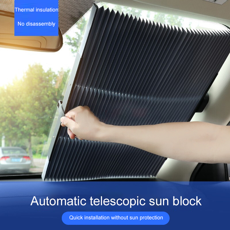 46/65/70/80cm Car Sunshade Retractable Windshield Anti-UV Car Window Shade Car Front Sun Block Foldable Summer Car Shade