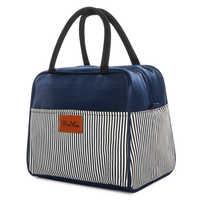Bolsas enfriadoras de vino azul de gran capacidad Winmax para hombres y mujeres con estampado a rayas, aislamiento térmico para bistec, bolsa de almuerzo con aislamiento, paquete de hielo