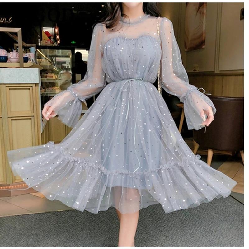 Primavera outono novo feminino o pescoço estrelas lantejoulas malha brilhante vestido de fadas feminino elegante bling gaze princesa vestidos puff