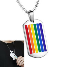 Hanging Pendant Six-color Titanium Steel Rainbow Flag Hanging Decor Fashion Necklace Gay Jewelry Accessories for Women(China)
