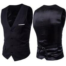 Black Suit Vest Waistcoat Men 2020 Brand New Slim Fit V Neck Dress Vests Mens Formal Business Wedding Tuxedo Chaleco Hombre 6XL