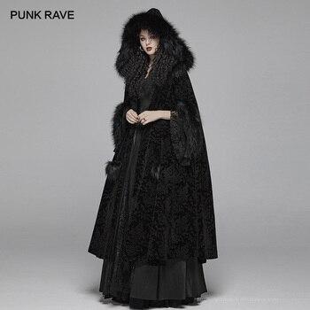 Женское длинное пальто в стиле панк, Готическая накидка с капюшоном в стиле панк, вечернее черное пальто для выступлений в клубе, для зимы