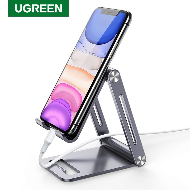 Ugreen alliage Support de téléphone pour iPhone 12 11 Pro Max réglable Support de téléphone portable pliable Support de bureau Support tablette Smartphone