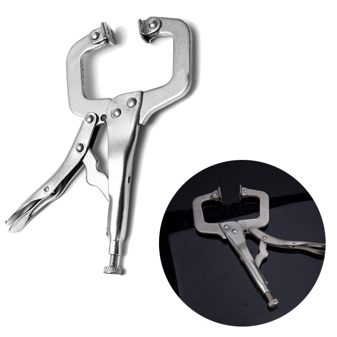 C Clamp Weld Clip Woodwork  Vise Lock Jaw Alloy Steel Hand Tool Swivel Fix Plier Pincer Tong Tenon Locator Pad Wood Work