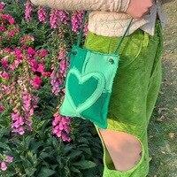 Bolso pequeño Y2k para chicas, pequeña de diseño Vintage bandolera, Mini bolso cruzado con costuras de Corazón Verde