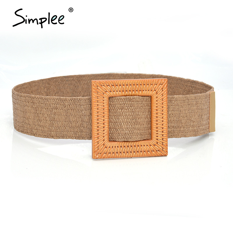 Simplee Bohemian Women Wide Belt Straw Buckle Belt Decoration Summer Dress Belt Casual Female Braided Strap Jade Accessories