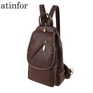 Image 1 - Vintage Soft PU Leather Backpack Women Purse Mini Lady Shoulder Bags Small Travel Casual School Crossbodys Bag for Female