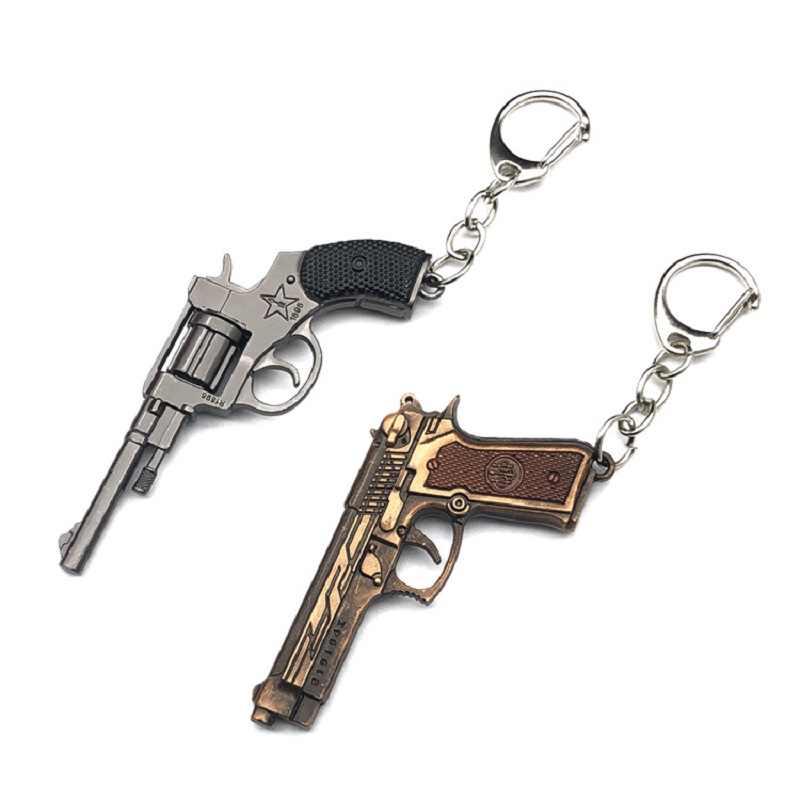 Yeni PUBG FPS oyun playerunknown battlegrounds 3D anahtarlık silah tabancası araba Revolver yemek tavuk oyunu anahtarlık erkekler araba anahtarlık