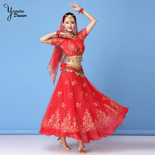 3 Pieces Adult Dance Long Skirt and Top Set Bellydance Costume Indian Dancing Long Skirts Belly Dance Costume Set High Quality