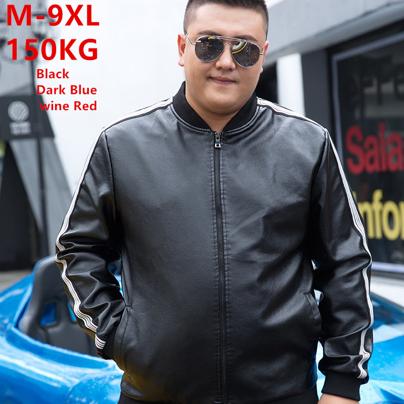Men Leather Jacket 2019 Autumn Motorcycle PU Jackets Windbreaker Mens Coat Fleece Black Winter Clothes Plus Size 6XL 7XL 8XL 9XL