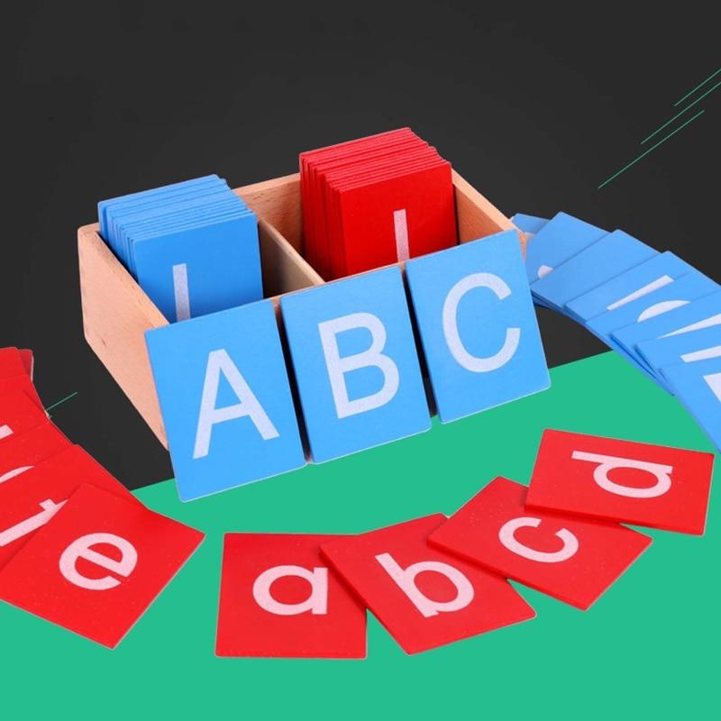 Montessori Children Language Training Kindergarten Teaching Aids Uppercase Lowercase English Letters Sandpaper Letter Board Toy
