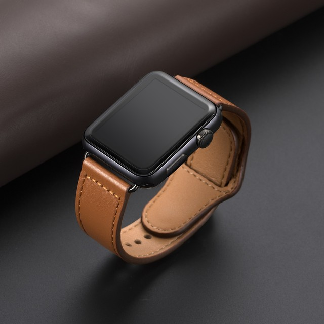 Genuine leather loop strap for apple watch band 42mm 44mm apple watch 4 5 38mm 40mm iwatch 3/2/1 correa replacement bracelet 1