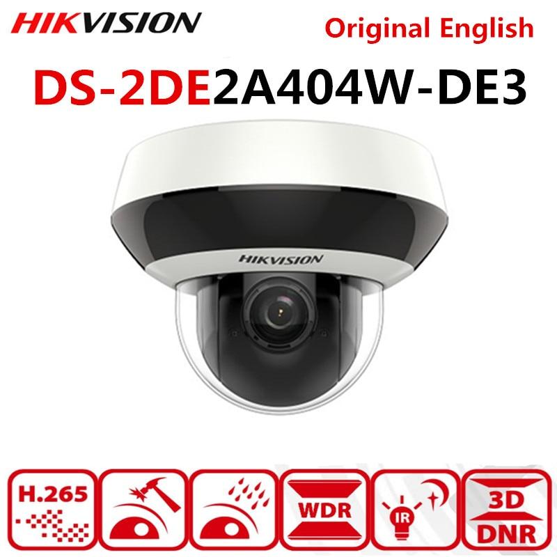 Original  Hikvision PTZ IP Camera DS-2DE2A404IW-DE3 4MP 4X Zoom Network POE H.265 IK10 ROI WDR DNR Dome CCTV PTZ Camera