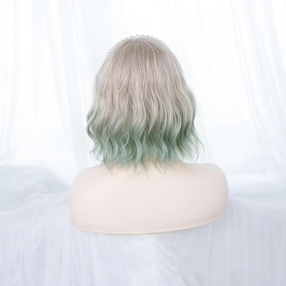 azul roxo verde ombre ondulado perucas de