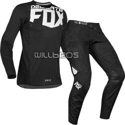 Hot البيع! حساسة الثعلب 2019 MX 360 كيلو جيرسي السراويل دراجة نارية الشارع موتو مجموعة تروس بدلة السيارات السوداء
