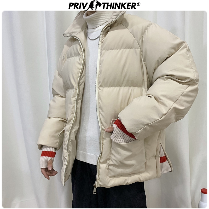 Privathinker 2019 Winter Men Short Thick Parkas Jacket Male Fashion Loose Warm Coat Male Streetwear Korean M-5XL Solid Clothing