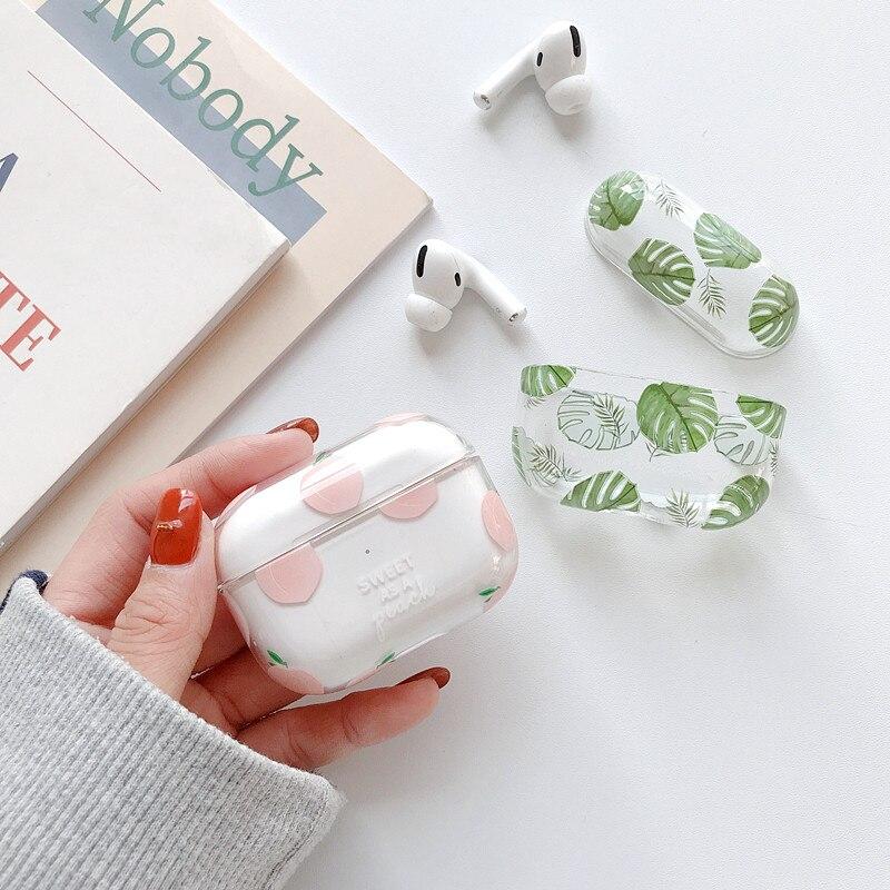 Cute Peach Banana Leaf Case For Apple Airpods Pro /2/1 Cover Cartoon Bluetooth Earphone Transparent Hard Cases For Airpod Funda