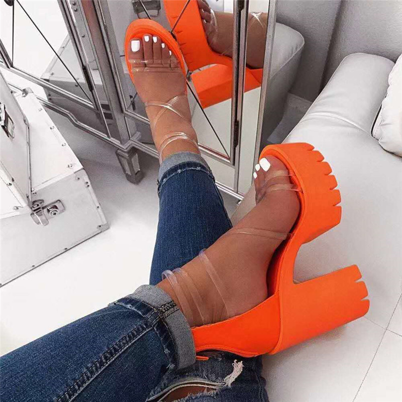 New Women Platform Summer Sandals Buckle Woman Running Shoes Candy Thick High Heels Ladies Ankle Strap Shoes Female Sandalias