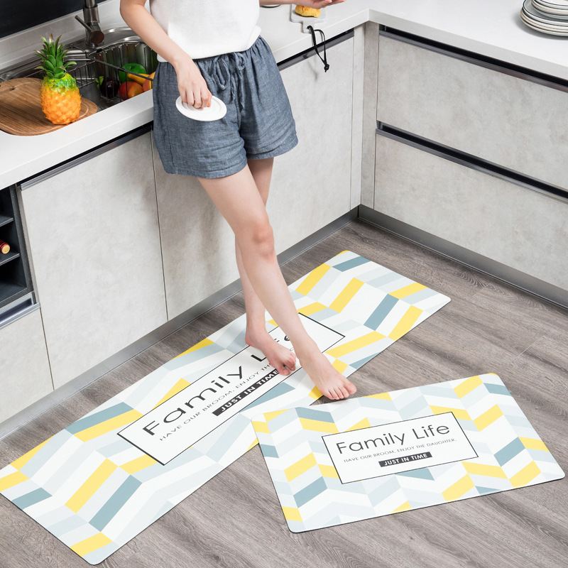 Hot Selling Elk Wear-resistant And Antiskid Foot Mats Household Waterproof And Oil-proof Long PVC Leather Kitchen Floor Mats