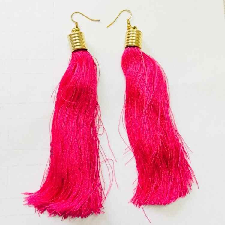 Bohemian Crystal Long Tassel Earrings Blue  Rose Red Fabric Drop Dangle Earrings Women Jewelry for Party Beach