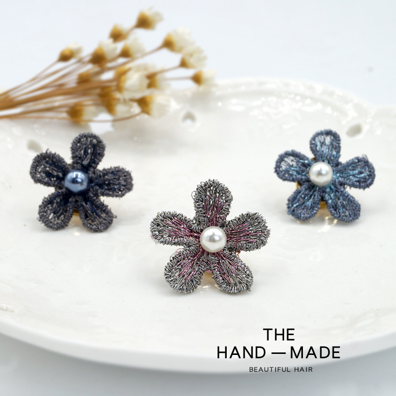 Korean Fabric Flower Brooches Pins Pearl Cardigan Shawl Collar Buckle Summer Anti light Dress Pins for Women Jewelry Accessories in Brooches from Jewelry Accessories
