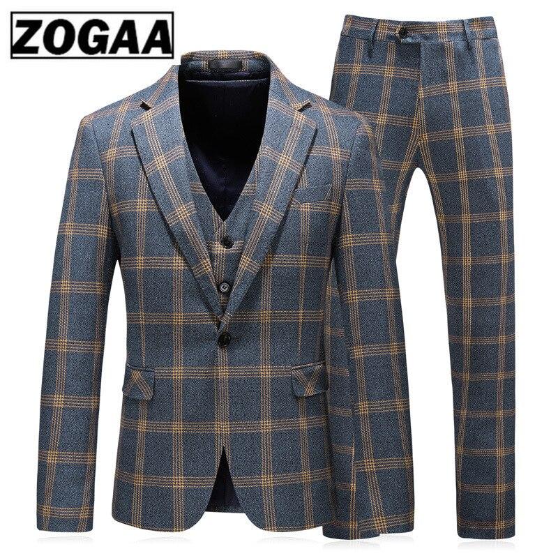 ZOGAA Fashion Plaid Designs Lapel Men Suit Tailor Made Groom Tuxedos Wedding 3 Piece Suits Best Man Blazer (Jacket+Pants+Vest) C