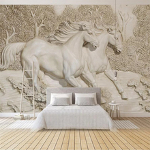 Custom wallpaper 3D stereo photo mural embossed white horse TV background wall living room bedroom wallpaper 3d papel de parede free shipping custom blue white pebbles 3d stereo self adhesive living room bedroom bathroom corridor flooring mural wallpaper