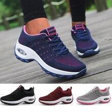 Damskie buty sportowe buty biegowe z poduszkami powietrznymi oddychające damskie sneakersy Outdoor Walking Jogging trenerzy latanie tkactwo wypoczynek