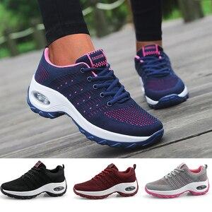 Image 1 - Mulheres sapatos esportivos almofada de ar tênis respirável mulher tênis caminhada ao ar livre jogging formadores voando tecelagem lazer