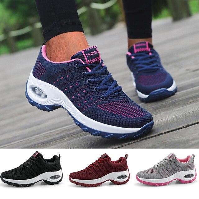 Mulheres sapatos esportivos almofada de ar tênis respirável mulher tênis caminhada ao ar livre jogging formadores voando tecelagem lazer
